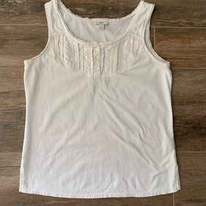 💥SALE J Jill Ivory embroidered scoop neck tank